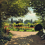 Adolphe Monet Reading in the Garden, Claude Oscar Monet