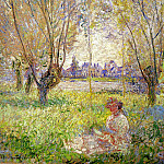 Woman Sitting under the Willows, Claude Oscar Monet