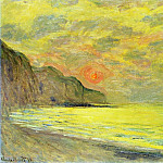 Sunset, Foggy Weather, Pourville, Claude Oscar Monet