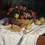 Fruit Basket with Apples and Grapes, Claude Oscar Monet