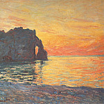 Etretat, Cliff of d`Aval, Sunset, Claude Oscar Monet