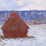 Grainstack in Overcast Weather, Snow Effect, Claude Oscar Monet