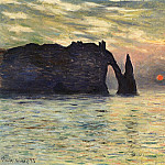 The Manneport, Cliff at Etretat, Sunset, Claude Oscar Monet