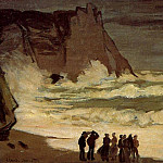 Claude Oscar Monet - The Manneport, Rough Sea at Etretat
