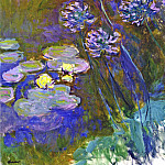 Water Lilies and Agapanthus, Claude Oscar Monet