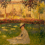 Woman Sitting in a Garden, Claude Oscar Monet