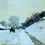 Cart on the Snow Covered Road with Saint-Simeon Farm, Claude Oscar Monet