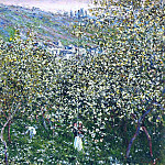 Vetheuil, Flowering Plum Trees, Claude Oscar Monet