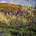 Plum Trees in Blossom at Vetheuil, Claude Oscar Monet