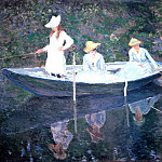 In the Norvegienne Boat at Giverny, Claude Oscar Monet