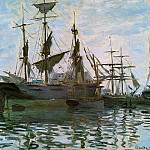 Ships in Harbor, Claude Oscar Monet