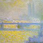 Charing Cross Bridge, Overcast Weather, Claude Oscar Monet