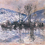 The Seine at Port Villez, Snow Effect 02, Claude Oscar Monet