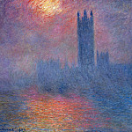 Houses of Parliament, London, Sun Breaking Through, Claude Oscar Monet