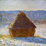 Grainstack in the Morning, Snow Effect, Claude Oscar Monet