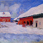 Red Houses at Bjornegaard in the Snow, Norway, Claude Oscar Monet