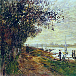 Клод Оскар Моне - The Riverbank at Le Petit Gennevilliers, Sunset