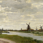 Windmills at Haaldersbroek, Zaandam, Claude Oscar Monet