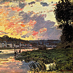 The Seine at Bougival in the Evening, Клод Оскар Моне