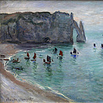 Etretat the Aval Door Fishing Boats Leaving the Harbour, Claude Oscar Monet