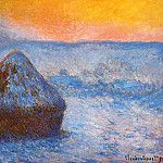 Grainstacks at Sunset, Snow Effect, Claude Oscar Monet