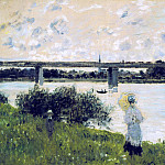 Claude Oscar Monet - The Promenade near the Bridge of Argenteuil