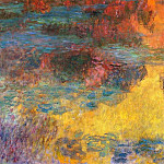 Claude Oscar Monet - Water Lily Pond, Evening (left panel)