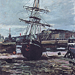 Claude Oscar Monet - Gestrandetes Boot in Fecamp
