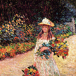 Young Girl in the Garden at Giverny, Claude Oscar Monet