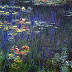 Claude Oscar Monet - Water Lilies, Green Reflection (left half)