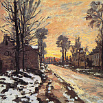 Road at Louveciennes, Melting Snow, Sunset, Claude Oscar Monet