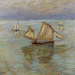 Fishing Boats at Pourville, Claude Oscar Monet