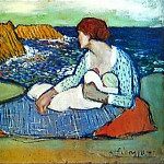 Pablo Picasso (1881-1973) Period of creation: 1889-1907 - 1901 MКre et fille au bord de la mer
