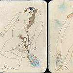 Pablo Picasso (1881-1973) Period of creation: 1889-1907 - 1903 Deux dessins Вrotiques