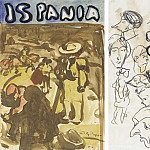 Pablo Picasso (1881-1973) Period of creation: 1889-1907 - 1899 Courses de taureaux (recto) Esquisses (verso)