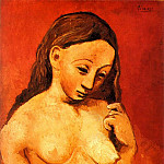 1906 Nu sur fond rouge, Pablo Picasso (1881-1973) Period of creation: 1889-1907