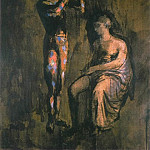 Pablo Picasso (1881-1973) Period of creation: 1889-1907 - 1905 Arlequin se grimant devant une femme assise