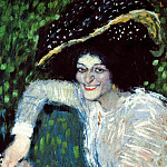 Pablo Picasso (1881-1973) Period of creation: 1889-1907 - 1901 Femme souriante au chapeau Е plumes (Buste de femme souriante)