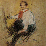 1901 Autoportrait Yo [Рtude], Pablo Picasso (1881-1973) Period of creation: 1889-1907