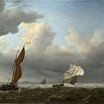 Willem van de Velde – A Dutch Ship and Other Small Vessels in a Strong Breeze, Part 6 National Gallery UK