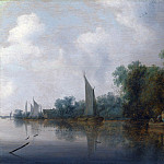 Salomon van Ruysdael – A River with Fishermen drawing a Net, Part 6 National Gallery UK