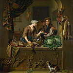 Willem van Mieris – A Woman and a Fish-pedlar in a Kitchen, Part 6 National Gallery UK