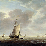 Simon de Vlieger – A Dutch Man-of-war and Various Vessels in a Breeze, Part 6 National Gallery UK