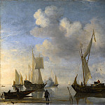 Willem van de Velde – Dutch Vessels lying Inshore in a Calm, one Saluting, Part 6 National Gallery UK