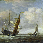 Willem van de Velde – Two Small Vessels and a Dutch Man-of-War in a Breeze, Part 6 National Gallery UK