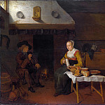 Quiringh van Brekelenkam – An Interior, with a Man and a Woman seated by a Fire, Part 6 National Gallery UK