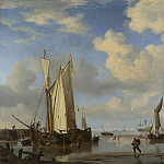 Willem van de Velde – Dutch Vessels Inshore and Men Bathing, Part 6 National Gallery UK