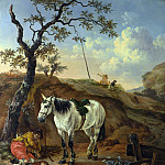 Pieter Verbeeck – A White Horse standing by a Sleeping Man, Part 6 National Gallery UK