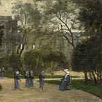 Stanislas Victor Edmond Lepine – Nuns and Schoolgirls in the Tuileries Gardens, Paris, Part 6 National Gallery UK