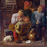 Style of Adriaen Brouwer – Four Peasants in a Cellar, Part 6 National Gallery UK
